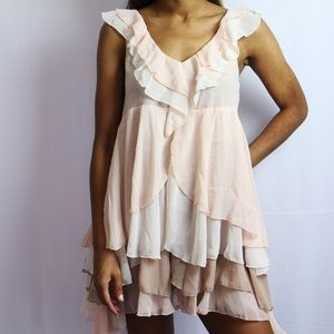 Pink, Cream & Brown Ruffled Dress H&M NWOT